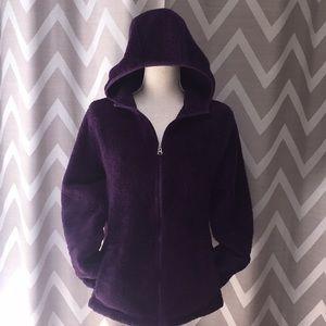Plum Purple Fuzzy Fleece Champion Jacket w/ Hood